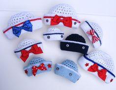 SALE Crochet Sailor Hat Crochet Pattern PDF Easy 8 Sizes Sailor Crochet Hat PatternTutorial for Pull Tie Bow