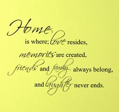Home is where love resides, memories are created, friends and family always belong, and laughter never ends.