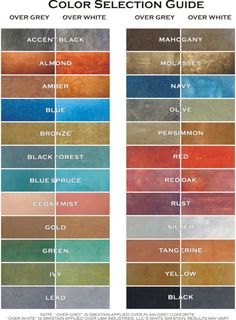 Colors for dye stained concrete, concrete resurfacing, acid stained concrete, concrete scoring by Classic Stained Concrete in South Central Texas