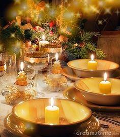 Christmas Dinner Table  With Christmas Mood