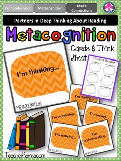 Metacognition thinking cards and THINK SHEET to improve comprehension.  TeacherKarma.com