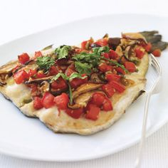 Baked Trout with Shiitake Mushrooms, Tomatoes, and Ginger Recipe at Epicurious.com