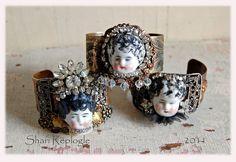 doll bracelet, vintage dolls, cuff, jewelri idea, craft idea, frozen charlott, artsi inspir, assemblag bracelet, alter