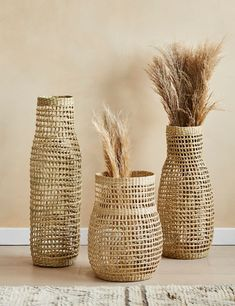 Wavy Seagrass Basket - Three Sizes Available | Rose & Grey