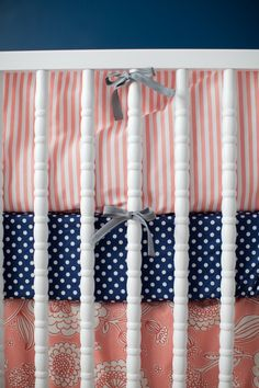 Modern color scheme with awesome pattern-mixing in the bedding.  Click to see full nursery by #projectnursery