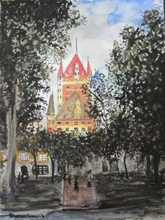 """Chateau Frontenac - Quebec City"" watercolor - Sharon Gonzalez"