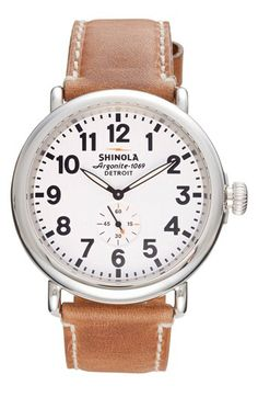 Shinola 'The Runwell' Leather Strap Watch, 47mm @Nordstrom