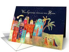 We've moved, new address, Christmas card, three wise men, card by Barbara Schreiber