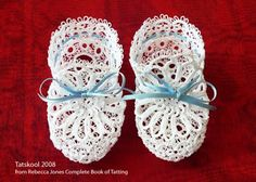 Baby Booties from Rebecca Jones's Complete Book of Tatting done in white Coats Mercer 20.