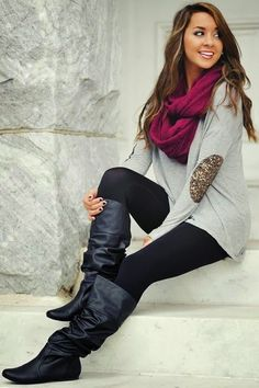 Fall outfit with elbow patch shirt long boots and scarf