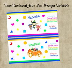 Team Umizoomi Juice Box or Water Bottle Wrapper Birthday Party Printables. $2.00, via Etsy.