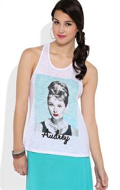 Deb Shops Racerback Tank Top with Audrey Hepburn Portrait Screen $19.00