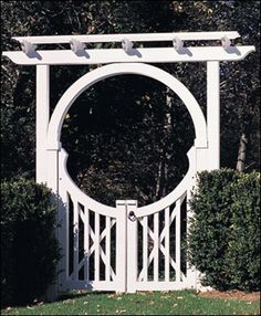 """Many fences include gates...and why not choose a""""moon gate""""? You can also use it alone anchored by plants on either side.  One of my favorites! I first saw one of these at Martha's Vineyard and loved it. From Walpole Woodworkers. http://www.landscape-design-advice.com/front-yard-fence.html"""