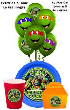 Ninja Turtles Image Party Pack, TMNT, Use on Balloons, Cups, and Plates, Ninja Turtle Birthday, Ninja Party Printables. $12.99, via Etsy.