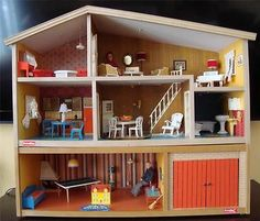 Fully Furnished Vintage Lundby Dollhouse with Dolls Furniture Lamps Transformer | Sold for $225 on eBay