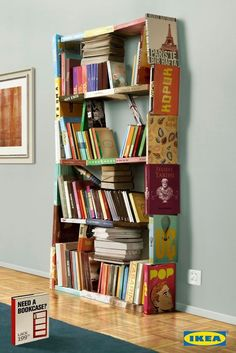 Cover a bookshelf in old book covers and bindings.