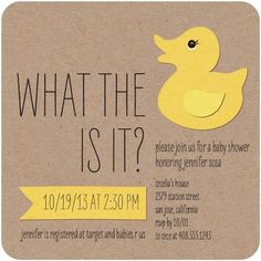 What the Duck - Baby Shower Invitations - Design Collective - Lemon - Yellow : Front