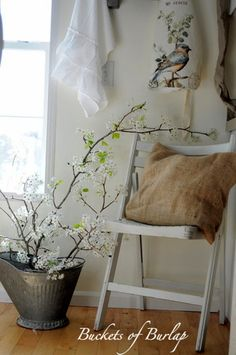 Love how seren this looks  Interior Styles and Design: Rustic Country Chic - Decorating with Burlap