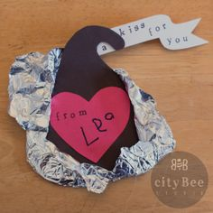 DIY chocolate kiss valentines ::: kid crafts ::: Hershey's Kisses