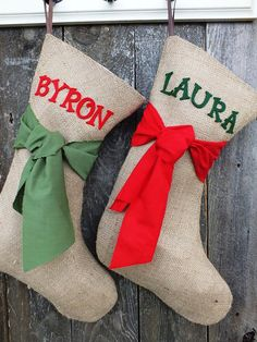 BURLAP CHRISTMAS STOCKING  of by TiddlywinkDesign...