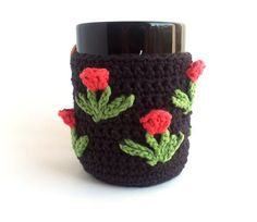 cozi craft, mug cozy, knit, crochet coffe, crochet lover, tulip coffe, pink tulip, coffee cozy, craft bazaar