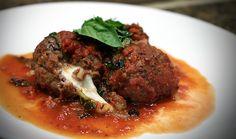 Mozzarella stuffed elk meatballs & red wine tomato sauce