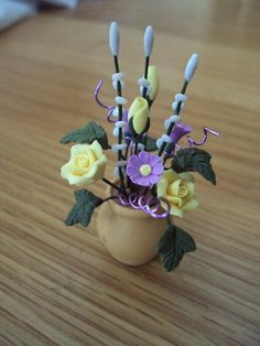 DOLLS HOUSE MINIATURES  Flowers in Vase by LittleHouseAtPriory, $15.00
