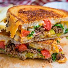 Grilled Bacon Double Cheeseburger with Cheddar, Mozzarella, and Fresh Garlic...