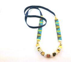 Modern twist on loom beadwork necklace - really like it!