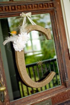 Country Chic Wedding at Front Porch Farms...Burlap covered initial on porch door  www.bburkeyphotography.com