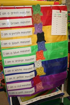 Monster Centers and Monster Fun! We have a pocket chart story every week.  Throughout the year they include most of our sight words and get harder over time...this week they practiced the word AM and color words.