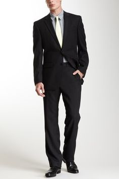 Kenneth Cole New York Black Shadow Stripe Suit