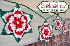 Crochet Christmas Star Granny Garland – Free Pattern free pattern, christma crochet, star garland, crochet christmas, crochetchristma, garlands, crochet patterns, christma star, christmas stars