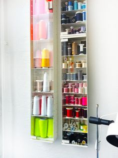 Beautiful vertical #thread storage on a #modern shelf.