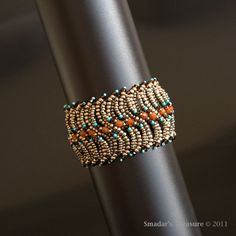 Bracelet in Dark Silver, Tangerine Orange, Turquoise with Mocha Brown Crystal
