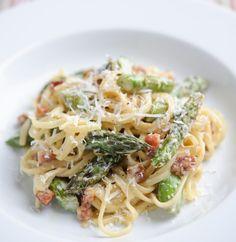 Asparagus, pancetta and lemon linguine