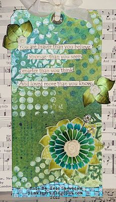 art journal, gift tag, color, challeng ellen, fingers, ink, beauti card, tag art