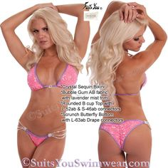 Another beautiful custom example from Lucy! Crystal Sequin bikini with lots of Swarovski Crystals, top has L-52ab and S-46ab connectors, scrunch butterfly bottom has L-63ab drape connectors. Model Marissa Everhart