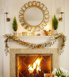 Mix greenery with metallics for a gorgeous Christmas mantel! More Christmas living rooms: http://www.bhg.com/christmas/indoor-decorating/pretty-christmas-living-rooms/?socsrc=bhgpin113013mixgreenerywithmetallics&page=10