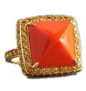 Paolo Costagli Coral and Yellow Diamond Ring