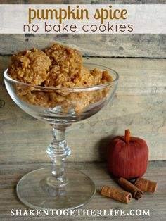 shaken together: {taste this} pumpkin spice no bake cookies  Yield:  around 55 cookies     2 cups granulated sugar   3/4 cup butter   2/3 cup milk   1 small box pumpkin spice pudding mix   3 1/2 cups quick cook oats   1/2 teaspoon vanilla extract