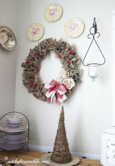 French Farmhouse Kitchen vignette burlap Christmas wreath grapevine tree @adelightsomelife.com