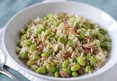 Rice with Edamame and Prosciutto by thegalleygourmet: A tasty, healthy side! #Rice #Pilaf #Edamame #Healthy