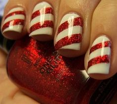 "Not a ""Nail Art Girl"" - Dont like the Glitter but would so do this in Matt White & Red (for Christmas only) Fun Fun Fun"