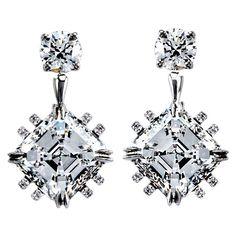 Asscher-Cut Diamond Earrings