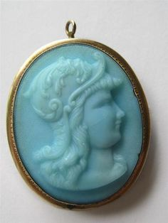 Victorian Gold Fill Carved Blue Glass Cameo Brooch / Pendant