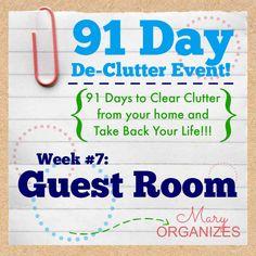 91 Day De-Clutter Week 7 -- Guest Room -- #Declutter #Organization #guestrooms http://maryorganizes.com/2014/09/week-7-guest-room/
