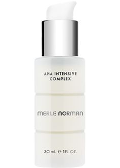 Merle Norman AHA Intensive Complex  For all skin types.   Correct the problem signs of premature aging with our highest level of Alpha Hydroxy Fruit Acids (10%). The concentrated formula provides continuous exfoliation that helps skin look more radiant and evens out skin tone. Also helps alleviate dry, discolored patches on the neck, hands and elbows. Ophthalmologist tested. Oil-free. Non-acnegenic. Non-comedogenic.