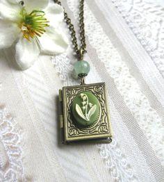 Green Flower Locket Necklace