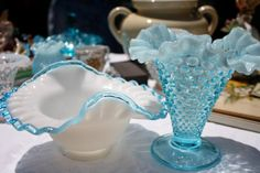 Aqua crest Fenton Hobnail Vase 2 nice pieces of Fenton art glass beautiful